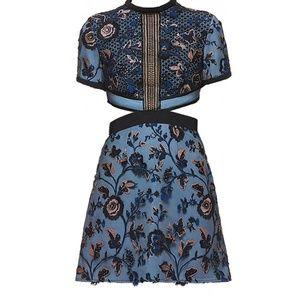 SELF-PORTRAIT Blue Florence Cutout Lace Mini